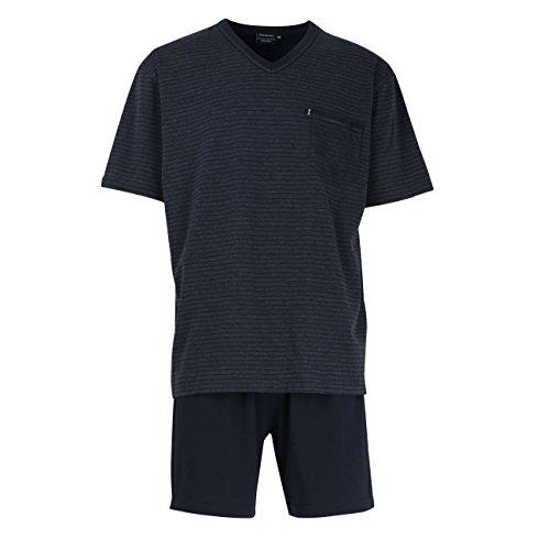 Götzburg Herren Shorty, Kurzarm Baumwolle, Single Jersey, blau, gestreift 54