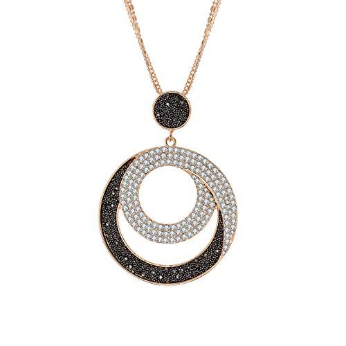Collana pendente con ciondolo per donna, collana lunga in argento oro con collana nera con diamanti e cristallo per i migliori amici (Sole e Luna, Placcato oro)