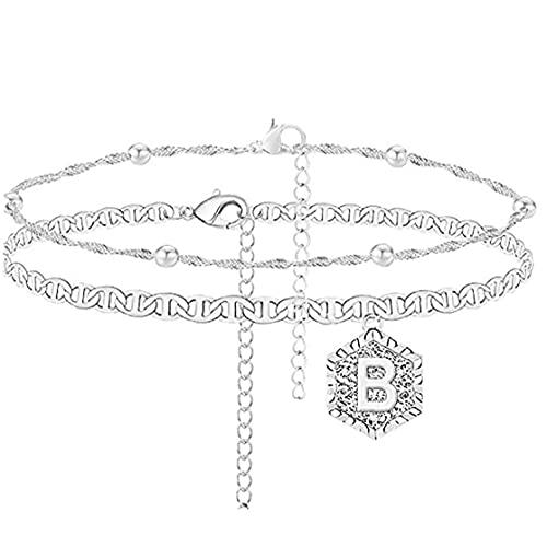 Onsinic 1pc para Tobillo De Doble Capa De Regalo De Joyería De Plata Collar De Mujeres De Muchachas Carta Barefoot