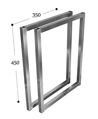 Salontafel, tafelkleed, tafelonderstel, roestvrij staal, 201 20 x 20, frametafel, onderstel, tafelonderstel Breite 35 cm x Höhe 45 cm