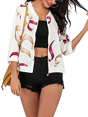 Women's Sun Protection Jacket - Cute Front Zip Three Quarter Sleeve Chiffon Jacket Small White