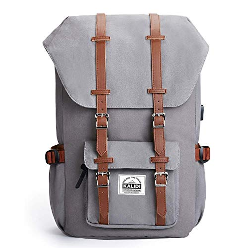 KALIDI 17 Inch Laptop Backpack Rucksack Canvas Outdoor Travel Hiking Backpack Schoolbag for Men and Women Fits 15'-15.6' Laptop/Notebook (Light Grey)