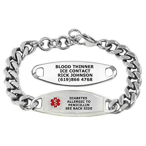 Divoti Custom Engraved Medic Alert Bracelets For men – Steelman Large Curb Stainless Steel Medical Alert Bracelet w/Free Engraving - Adjustable - Red
