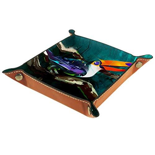 BestIdeas Cesta de almacenamiento cuadrada 20,5 x 20,5 cm, con pintura Hornbil, caja organizadora en la mesa para el hogar, oficina, dormitorio, Piel de microfibra., Pintura Hornbil, Large
