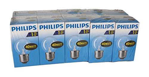 Philips 30600021 Glühlampe Tropfenform, 40 Watt, E27, klar, 10er