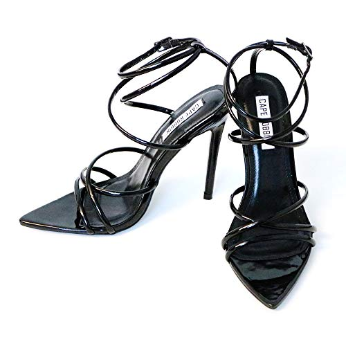 Cape Robbin Ada Sexy Stiletto High Heels for Women, Strappy Pointed Open Toe Shoes Heels - Black Size 7.5