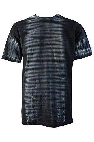 Pour Homme rétro Festival Tie Dye T-Shirt Gris avec Rayures Blanches Tailles L et XL - - Large