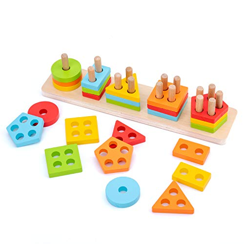 Image of the WOOD CITY Wooden Sorting & Stacking Toy, Shape Sorter Toys for Toddlers, Montessori Color Recognition Stacker, Early Educational Block Puzzles for 1 2 3 Years Old Boys and Girls (5 Shapes)