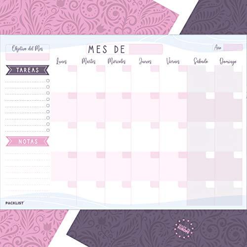 PACKLIST Planificador Mensual, Organizador Mensual A4 - Agenda Mensual Calendario Perpetuo 2020/21/22 - Monthly Planner, Planner Mensual con 25 Hojas. Agenda Planificador en Formato Calendario