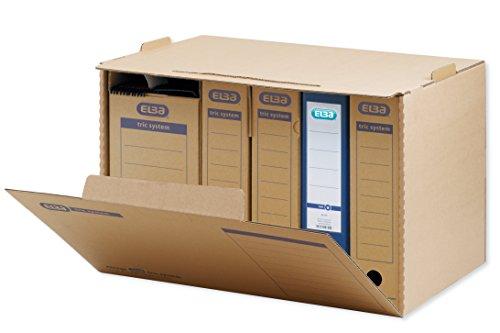 ELBA 100421093 Systemcontainer tric system 5 Stück mit Frontklappe zur Archivierung Ordnern stapelbar in der Höhe arretierbar naturbraun Archivschachtel Archivbox