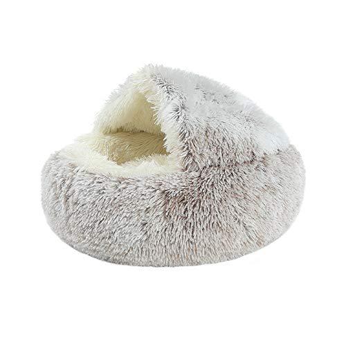 Dihope Kuschelbett Hundebett mit Abdeckbett Katzenbett Katzenkörbchen Kuschelhöhle für Kleintiere Hunde Katzen warm u. weich Waschbar