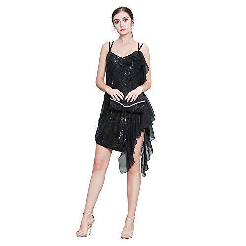 ROYAL SMEELA ストラップシフォンイブニングドレスレディースバンケットイブニングショートドレスウェディングブライドメイドドレスルーズパーティードレスミニドレススパンコール衣装
