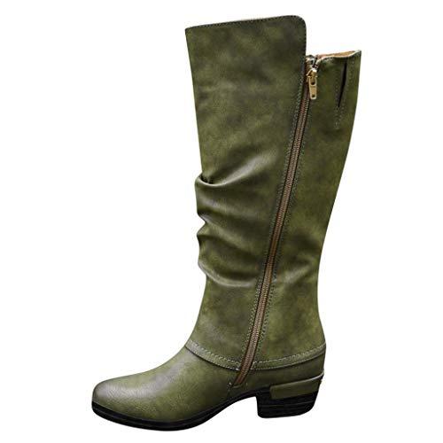 MOTOCO Damen Frauen Stiefe Mode Western Style Cowboy Reitstiefel Übergröße Knight Stiefel High Tube Stiefel(38 EU,Grün 1)