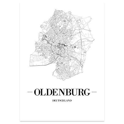 JUNIWORDS Stadtposter, Oldenburg, Wähle eine Größe, 21 x 30 cm, Poster, Schrift A, Weiß