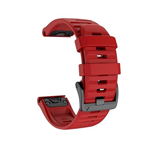 Correas de reloj 26 22 mm de silicona de liberación rápida para Garmin Fenix 6X Pro Watch Correa de muñeca para reloj Fenix 6 Pro para hombre (color: rojo, tamaño: 22 mm Fenix 6 5 5Plus)