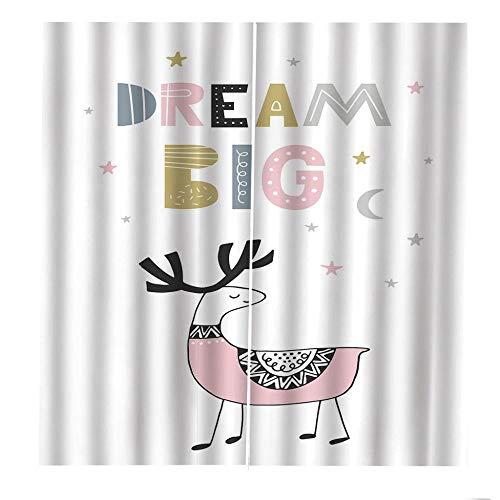 QGWMCD Verdunkelungsvorhänge Ösen Vorhang Weißes graues rosa gelbes Tierhirsch Blickdicht Gardinen Thermovorhang lidchtdicht für Wohnzimmer Schlafzimmer Küche, 140x250cm x2