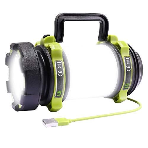 LE Lámpara de Cámping, Linterna Cámping LED Recargable 2600 mAh, 500 Lúmen Regulable, Resistente al Agua, Linterna Potente de 6 Modos con Cable USB para Senderismo, Garaje, Rescate, Bodega, etc