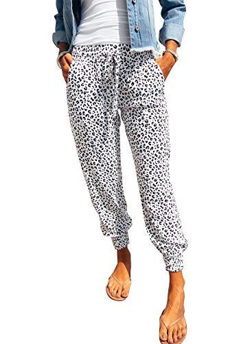 LOSRLY Damen Sommer Casual Leopard Print Kordelzug Fashion Jogger Hose mit Taschen Gr. 40-42, Leopard-1