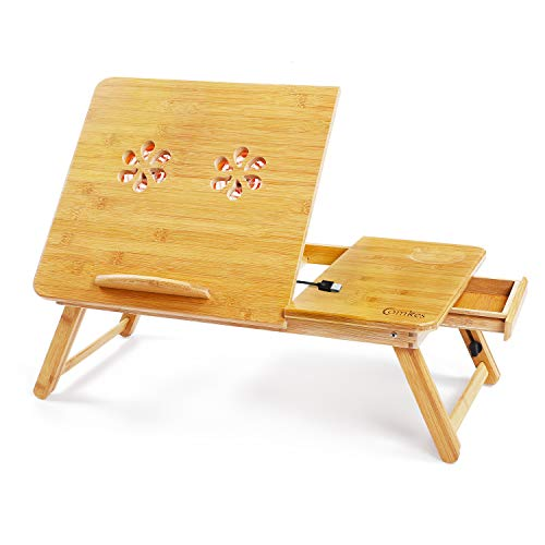 Comkes Laptop Desk, Adjustable Laptop Desk Table 100% Bamboo with USB Cooling Fan Foldable Breakfast Serving Bed Tray w' Tilting Top Drawer