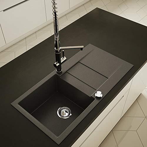 Axigran Granitspüle Waterfall 40 Küchenspüle Spülbecken Einbauspüle 860x435mm Spülbecken (NIGHT GLOW)