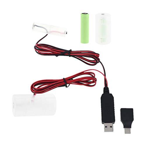 ZHOUMO 2 in 1 USB / tipo C Convertitore per batterie condizionatore di dimensioni AA + D Sostituisci la batteria da 1 a 4 pezzi