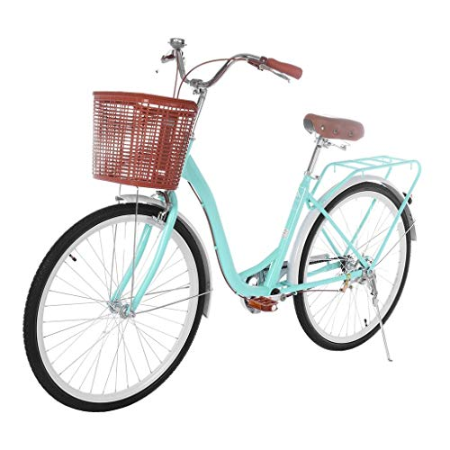 AOCEOSK 26 Inch Women's Classic Beach Cruiser Bicycle Mountain Bike Frame Unisex Classic High-Carbon Steel Bicycle with Front Basket & Bell,Seaside Travel Bicycle