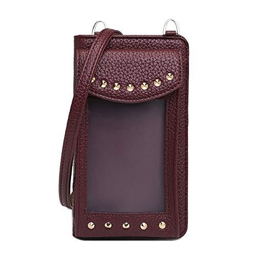 Vmokki Funda para teléfono móvil de hasta 6,5 pulgadas, con tarjetero, transparente, bolso de hombro pequeño, piel sintética