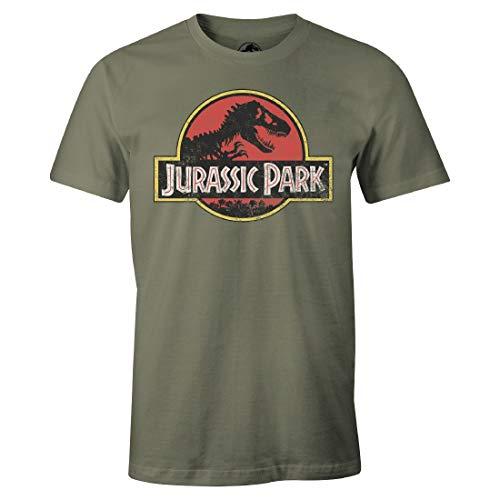 Jurassic Park - Maglietta da uomo Premium Vintage, con logo classico, taglia S-XL, colore: Verde oliva oliva XL