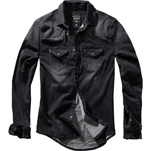 Brandit 4020-Camisa Vaquera Hombre Negro (Black 2) XXL