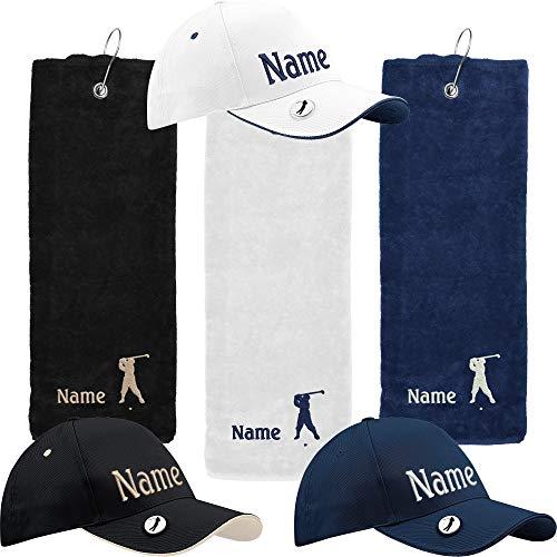Nashville print factory Geschenkset Golftuch + Golfcap mit Namen Bestickt Golfhandtuch Golfer Basecap (Weiß)