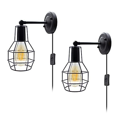 Industrial E27 Wandleuchte Retro Wandlampe, 2 Stück Rustikal Deckenleuchte mit 5.9 Fuß Steckkabel und Schalter, 240° Schwenkbar Drahtkäfig Wandleuchten für Wohnzimmer Esstisch(Ohne Leuchtmittel)
