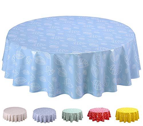 Home Direct Mantel de Hule, Redondo 140 cm, Hojas Azul Claro