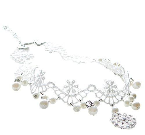 Nikgic Gargantilla blanca collar perla tatuaje gargantilla con colgante de diamante de cristal