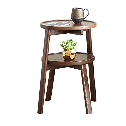 JCNFA BIJZETTAFEL Sofa Bijzettafel, Double Desktop, Koffie Bijzettafel, Alle Massief Houten Eiken Productie, Walnut (Color : Walnut, Size : 13.77 * 13.77 * 20.55in)