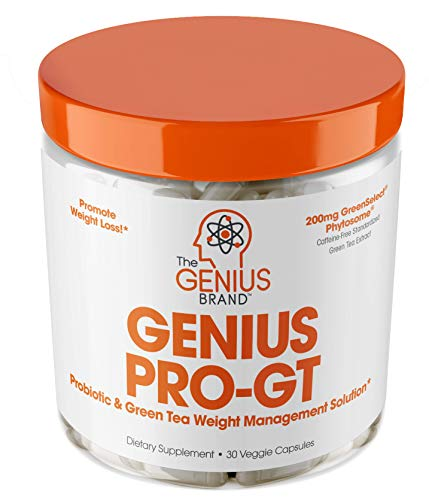 Genius Probiotics for Weight Loss w/ Green Tea Extract for Women & Men – Shelf Stable Probiotic Natural EGCG Fat Burner Supplement, Digestive Health Pills for Bloating Relief and Belly Reduction –30sv
