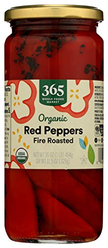 365 by Whole Foods Market, Organic Shelf-Stable Red Peppers, Fire Roasted, 16 Ounce