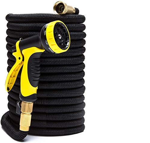 SKEMIX 100ft Expandable Garden Hose with 9-Pattern Sprayer Nozzle | Gardening and Outdoor Lawn Care Tools | Lightweight, Flexible, Kink-Free | 3/4 Brass Fittings | Leakproof Latex Core | Warranty