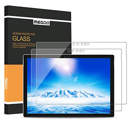 [2-Pack] Megoo Screen Protector for Surface Pro 6, Friendly Touching/Easy Installation/High Sensitivity/HD Clear Tempered Glass, Compatible for Microsoft New Surface Pro 6 Pro 5/4 12.3 Inch