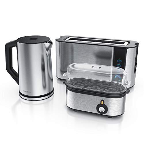 Arendo - Edelstahl Wasserkocher mit Temperaturauswahl + Edelstahl Toaster Langschlitz 2 Scheiben mit Brötchaufsatz + 3 fach Eierkocher - Wasserkocher im Doppelwanddesign - Küchen Set - Silber