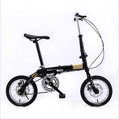 DGAGD 14 inch Lightweight Folding Bicycle Single Speed disc Brake Bicycle Black