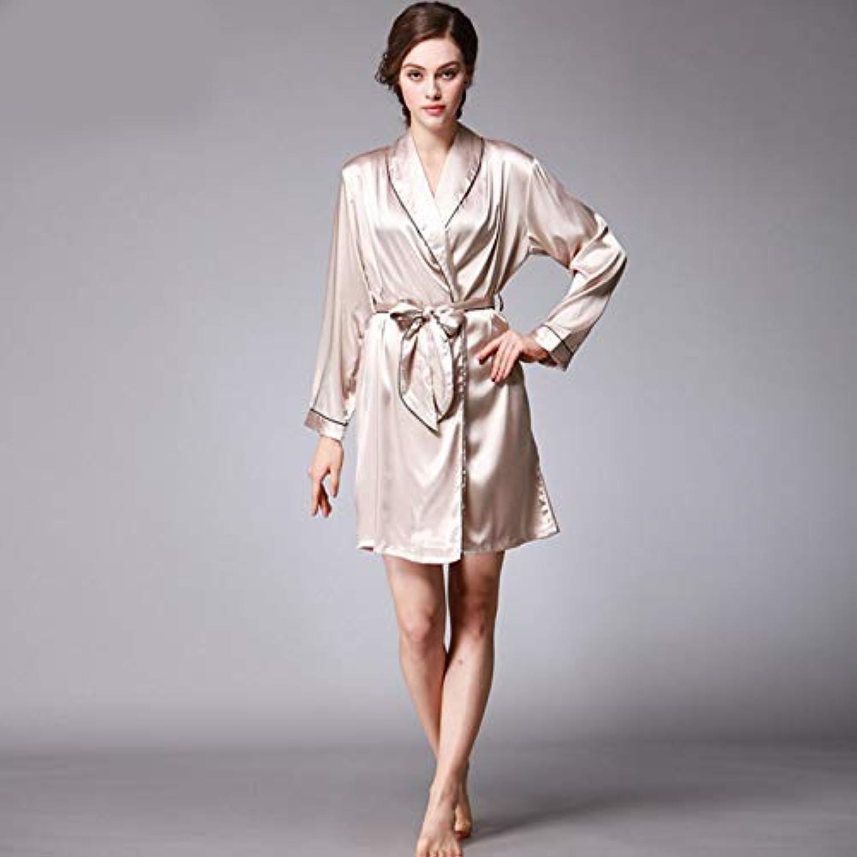Pyjamas, Autumn Silk Women's Pajamas Autumn Women's Solid color Nightgown Long Sleeve Bathrobes (color   Camel, Size   L) (color   Camel, Size   Large)
