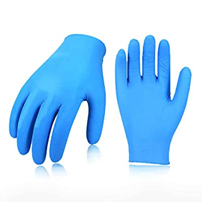 Vgo 200PCS Nitrile Powder Free Textured Industrial Gloves, Disposable, Non-Sterile, Food Service Gloves(Size S, Blue, NT5137)