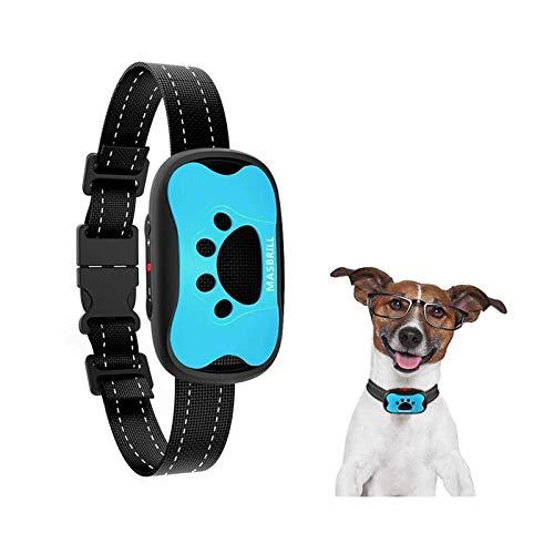 MASBRILL Collar Antiladridos para Perros Pequeños y Grandes, Sonido/Vibración Perro Barking Collar de Entrenamiento de Control Anti ladrido Dispositivo Dejar de Ladrando Collar Perro(Azul)