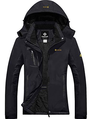 GEMYSE Women's Mountain Waterproof Ski Snow Jacket Winter Windproof Rain Jacket (Black,Large)