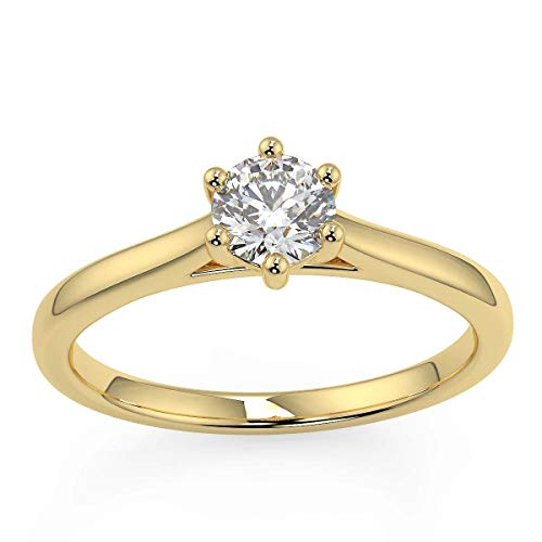 Yellow gold diamond solitaire in choice of diamond sizes with 6 claw secure setting_O
