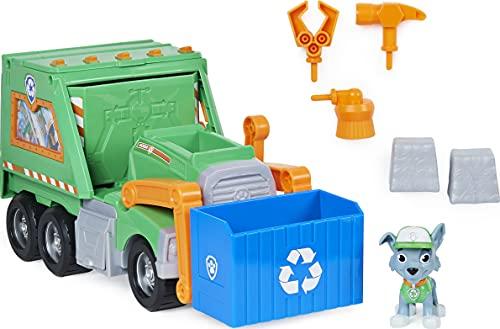PAW Patrol 6060259 Rocky's Reuse It Deluxe Truck con Figura Coleccionable y 3 Herramientas, para niños de 3 años en adelante