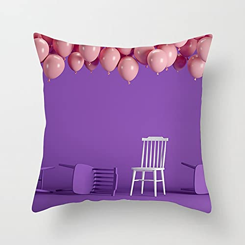 Daesar Funda de Almohada,Cojines Decoracion Sin Relleno,Silla Globos Funda Cojin 40x40 Salon Púrpura Rosa