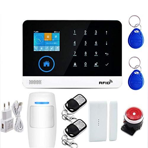 GUOKUI Sistema De Alarma Antirrobo Inalámbrica WiFi gsm, Alarma Inteligente Casero De La Casa Oficina De Seguridad De Marcación Kit Sistema Touchpanel Automático con Sensor De La Puerta Ventana