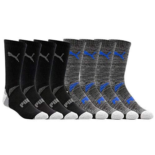 PUMA Men's Crew, Black Multi, Sock Size 10-13, Shoe Size 6-12