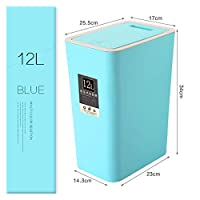 Flat store ゴミ箱 プラスチックゴミ箱、ホームオフィスゴミ箱、ゴミ箱、プラスチック製収納ビン (Color : Blue 12L)